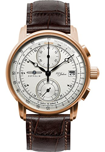 Zeppelin Men's Quartz Watch with Black Dial Analogue Display Quartz Champagne/Brown One Size