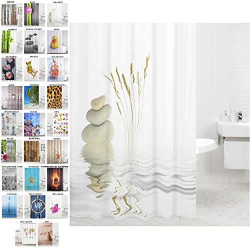 Duschvorhang, viele schöne Duschvorhänge zur Auswahl, hochwertige Qualität, inkl. 12 Ringe, wasserdicht, Anti-Schimmel-Effekt