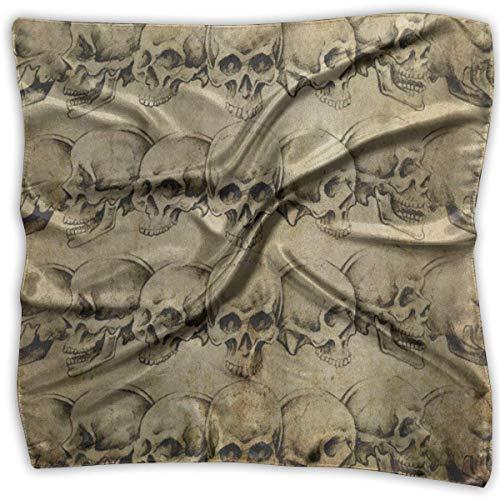Quadratischer Schal im Vintage-Stil, Tattoo-Art-Totenkopf-Design, Unisex-Kopf- und Hals-Krawatte für Erwachsene Funky Winter Ski