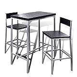 Festnight Bartisch Stehtisch Frühstückstisch mit Stühlen Essgruppe für Küche Esszimmer