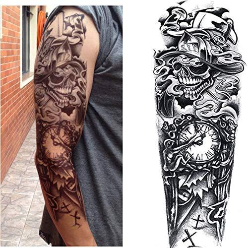 3 Stücke-voller arm Blume Tattoos Aufkleber Schulter Tattoo ärmel körper malen Rosen Halloween Tod schädel kürbis Seele Schwarz Feuer 3 Stücke-