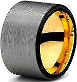 Tungsteno Anillo 12 mm para las mujeres de los hombres de negro y 18 K de oro amarillo cepillado de corte de tubo pulido y garantía de por vida