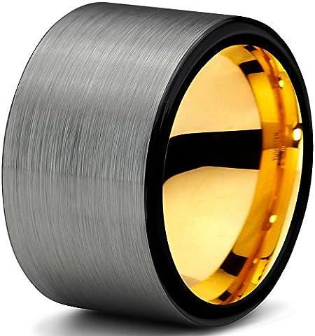 Tungsten Wedding Band Ring 12mm for Men Women Black & 18K Yellow Gold Pipe Cut Brushed Polished Lifetime GuaranteeSize 62