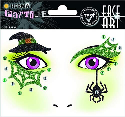 HERMA 15317 Face Art Hexe Gesicht Aufkleber Glitzer Sticker für Fasching, Karneval, Halloween, dermatologisch getestet