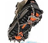 TTYY Eiskrallen Steigeisen rutschfeste Schuhe Abdeckung Edelstahl-Kette Outdoor Ski Wandern Eisklettern , Black