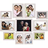 Amazon Brand - Solimo Collage Photo Frames, Set Of 11,Wall Hanging (6 Pcs - 4x6 Inch, 4 Pcs - 5x7 Inch, 1 Pc - 8x10 Inch),Cream