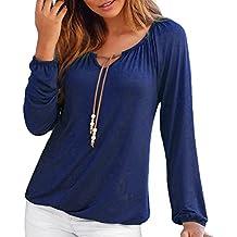 c3e0c20e1bfa Styledress Damen Langarm Tshirt,Damen V-Ausschnitt Bluse T-Shirt Bowknot  Langarmshirts Tops