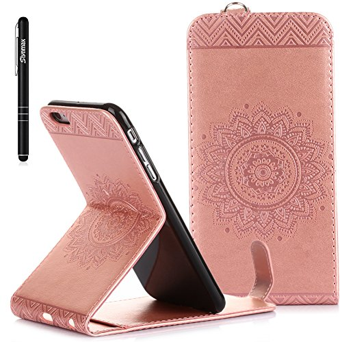 iPhone 6s Plus Custodia Flip,iPhone 6s Plus Custodia in Pelle,Slynmax Stampato Copertura di Ccuoio Folio Cover in PU Dipinto Sintetica Ecopelle Guscio Wallet Case per Apple iPhone 6 Plus /6S Plus Prot Rosa gold
