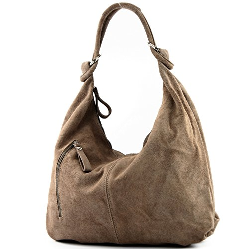 modamoda de - ital. Ledertasche Damentasche Hobo Bag Schultertasche Wildleder Groß T158 Stone
