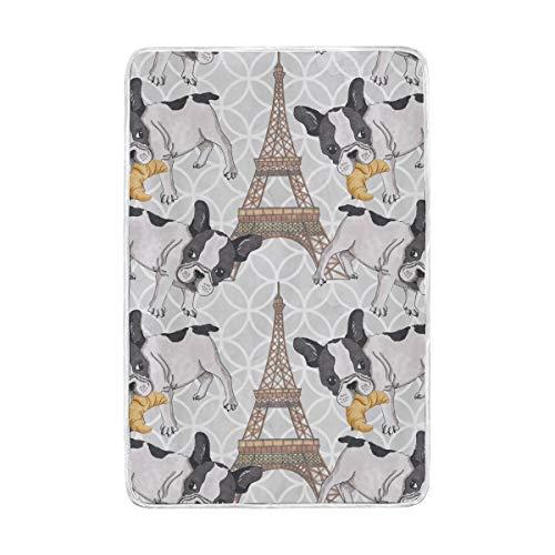 vinlin Paris Eiffelturm Francesa Bulldogge Manta Cristal Terciopelo acogedora cálida Manta para...