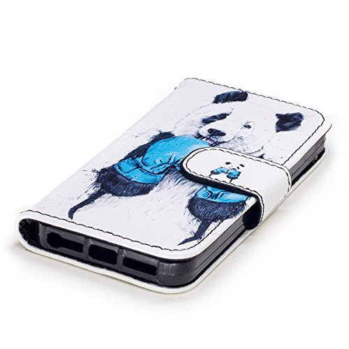 EUWLY Case Cover per iPhone 5s/iPhone SE,Ultra Slim Sottile Custodia Protettiva Portafoglio pelle PU Case Colorato Pattern Style Custodia Cover Supporto Stand con Chiusura Magnetica Protettiva PU Leat Panda Aggressivo