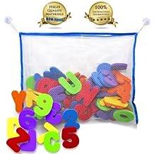 36 Lettres et chiffres bain avec Bath Jouet Organisateur. La meilleure éducation Bath Toys avec Premium jouet de bain et de stockage non toxique sans BPA Lettres. Le Cadeaux idèal pour les enfants