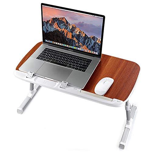 TaoTronics Laptoptisch Tragbarer Klappbarer Winkel Verstellbarer Schreibtisch Höhenverstellbarer mit Polierte Holzoberfläche Rutschfeste Füße für Sofa, Bett, Büro und Picknick usw