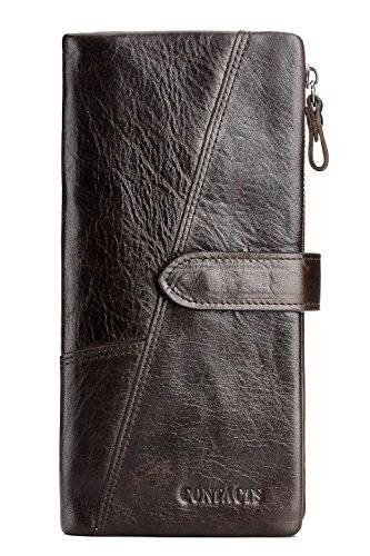 Tri-fold Clutch (Contacts Männer echtes Leder Vintage Trifold Kartentelefon Clutch lange Geldbörse 18 Kartensteckplätze Dunkelbraun)