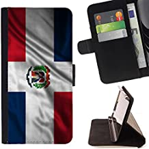 FJCases República Dominicana Dominico Bandera Ondeante Carcasa Funda Billetera con Ranuras para Tarjetas y Soporte Plegable para Sony Xperia M4 Aqua