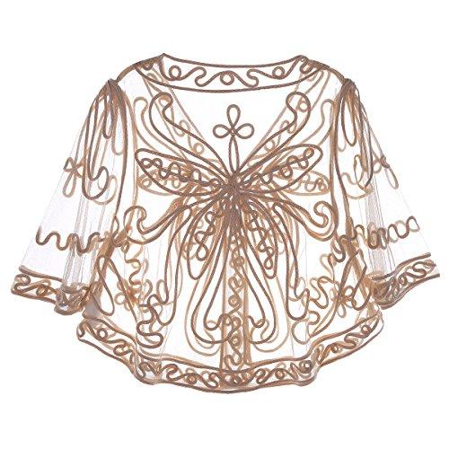 TiaoBug Femme Boléro Dentelle Cape Broderie Fleur Châle Écharpe en Tulle Veste Haut Top Boléro de Soirée Cérémonie Mariage Beige
