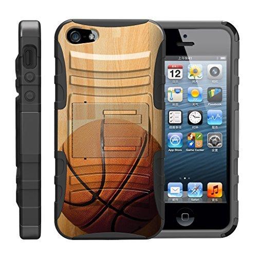 turtlearmor | Kompatibel für Apple iPhone SE Fall | iPhone 5/5S Fall [Hyper Schock] Armor Massiv Ständer Auswirkungen Silikon Clip Sport Video Spiele Design -, Hardwood Basketball (4 Virgin Mobile-handys Iphone)