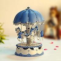 Silver Flower Umbrella Plating Rocking Horse Music Box