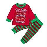 BYSTE Natale Pigiama Set,bambino Ragazzi Lettera di Natale Manica lunga Top + Bambini A strisce Pantaloni Abiti Imposta per Fratello e sorella (fratello, 4-5 anni)