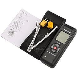 NKTECH NK-TK0 Thermomètre digital thermocouple double canal 2 voies type K Température de rétro-éclairage LCD -50 - 1350℃/℉/K 2 Sonde lecture Coin T1/T2 au mètre Noir