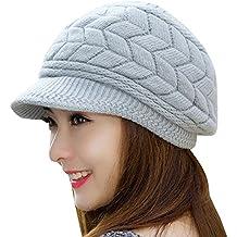 Mujer Vintage elegante Lana Boina Gorro Invierno Cálido Color sólido  Sombrero de invierno Gris f577d4b0579