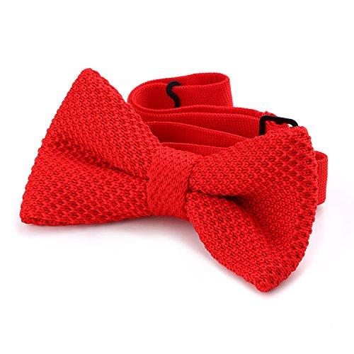 DonDon® Herren Strick Fliege gebunden und längenverstellbar 11 x 6 cm rot