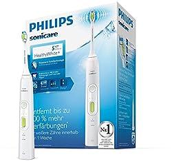 Philips Sonicare HealthyWhite+ Elektrische Zahnbürste HX8911/01 mit 2 Putzprogrammen, 3 Intensitäten & DiamondClean Aufsatz - Zähne aufhellen, Plaque & Zahnverfärbungen entfernen – Weiß