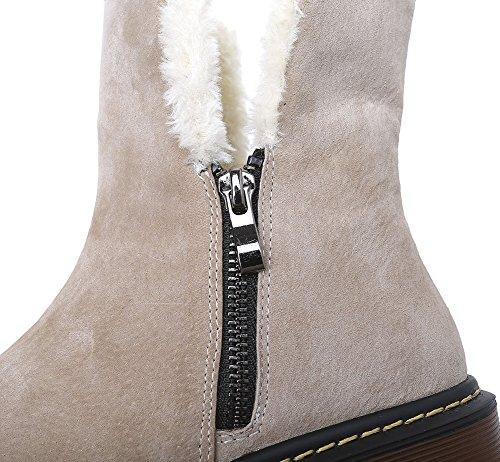Wealsex Boots Suédine Fourrées Plate Motardes Fermeture Eclair Boots classique Mode Bottes de Neige Cheville Chaudes Grande Taille 40 41 42 43 Femme Kaki