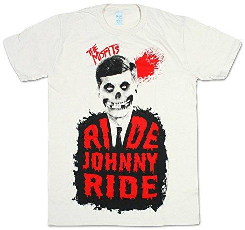 s Reiten Johnny Ride Herren T-Shirt Jahrgang Weiß Mittel – Brust 38-40 Zoll (96.5 -101.5 cm) Jahrgang Weiß (Schwarze Und Weiße Kerl Halloween-kostüme)