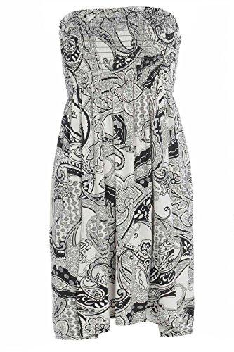 Fashion moins 4 pour femme Imprimé Sheering Plus longue bustier robe Haut débardeur 20 22 Paisley Print