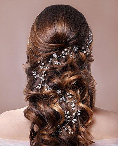 aukmla Strassbesatz Haarband und Stirnband mit Kristall, Fashion Zubehör für Frauen und Mädchen (Silber) - 3