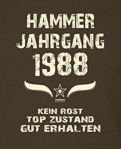 Bequemes 29. Jahre Fun T-Shirt zum Männer-Geburtstag Hammer Jahrgang 1988 Geschenkeset für Teenager und Junggebliebene Farbe: braun Braun