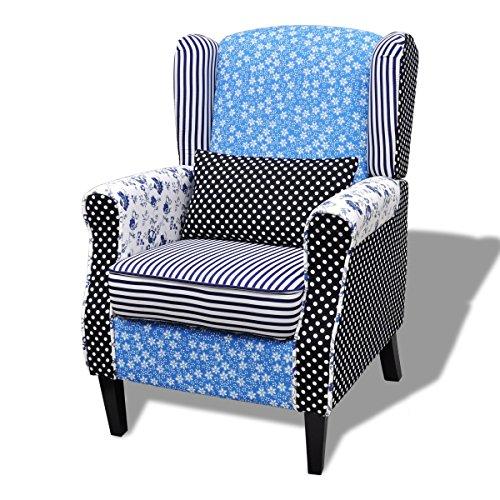 vidaXL Patchwork Relax Sessel Armsessel Blumen Blau &Weiß