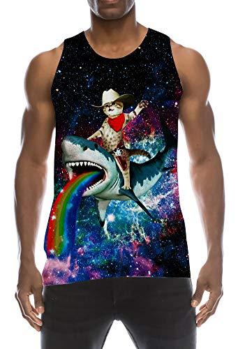 TUONROAD Tank Top Herren Lustig 3D Grafik Drucken Cat Shark Tanktop Ärmellos Sommer T-Shirts Leicht Muskelshirts Gym Fitness Bodybuilding Tankshirt Lässig Unterhemden Männer Jungen - M