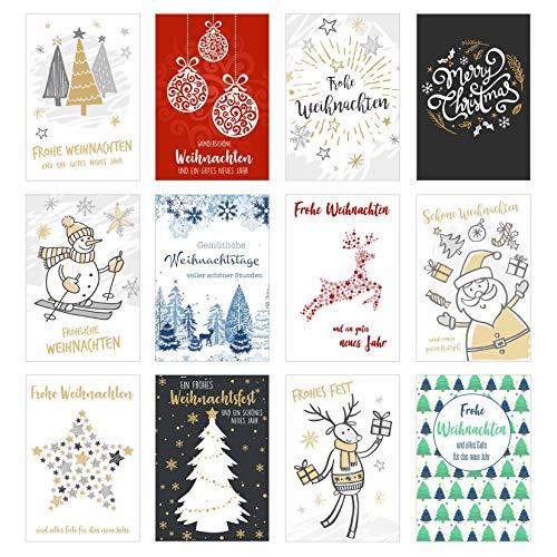 Set 12 exklusive Premium Weihnachtskarten mit feiner Prägung und Umschlag. Doppelkarten/Klappkarten mit Briefumschlag. Weihnachten Karte Postkarte Weihnachtspostkarte