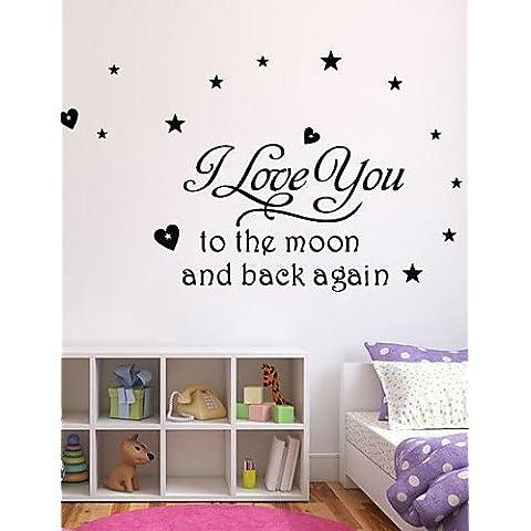 jiubai ™ te amo a la pared etiqueta de la pared decoración del hogar calcomanía cita luna , white