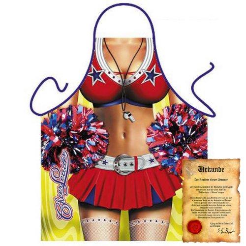 bedruckte Karneval Grillschürze - sexy Motiv: Cheer Leader - coole lustige Fasching Party Koch Schürze Latzschürze Fastnacht (Cowboy Cheerleader Kostüm)