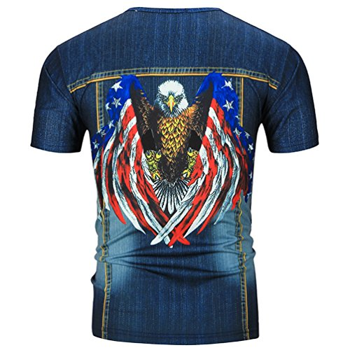MILEEO Herren T-Shirt Kurzarm 3D Druck Print Strandshirt T-Top 7