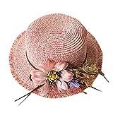 MINXINWY Sombrero Paja Mujer, Sombrero Plana Gorros de Paja de Color sólido señora Sombrero de Playa de Verano de los Sombrero de Protección Solar Gorros Decoracion Flor Sombrero al Aire Libre