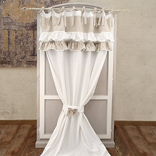 Tenda Shabby Chic con Embrasse Due Volant e Pizzo 140 x 300 ...