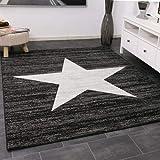 VIMODA Trendiger Kurzflor Teppich Design Stern Meliert in Schwarz, Maße:120 x 170 cm