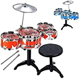 EMONO Kids Musical Jazz Drums Set For Kids Percussion Musical Instrument Toy With 5 Drums Set And Chair For Boys And Girls RED In Color
