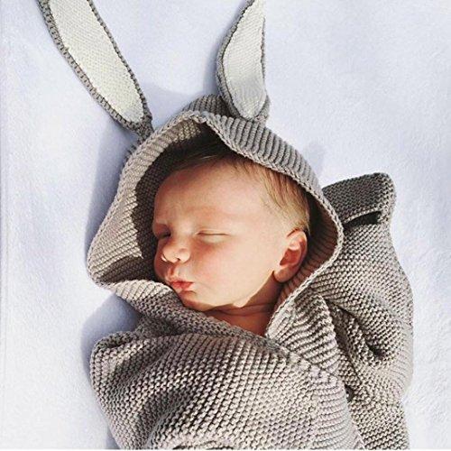 Neugeborenen Baby 3D Kaninchen Ohr Gestrickte Swaddle Decke Pucktuch Wrap Swaddle Decke Baby Kinder Kleinkind Gestrickte Baumwolle Swaddle Schlafsack Schlaf Sack Stroller Wrap(0-12 Monate) Upxiang (Grau)