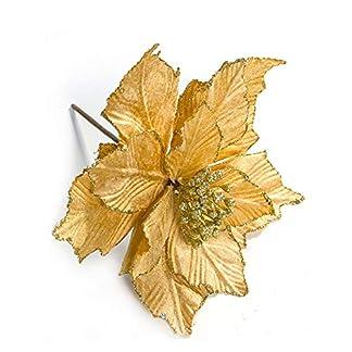 xiaoHannaw Flores Artificiales con Purpurina, 6 Piezas de decoración de árbol de Navidad de Flor de Pascua con Purpurina para Bodas y Fiestas