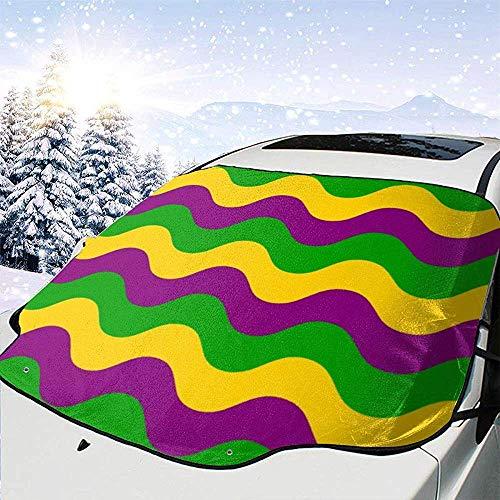Blu verde viola strisce ondulate auto anteriore copertura parabrezza copertura neve pieghevole antivento auto parasole finestra anteriore adatto per la maggior parte delle auto,147 * 118 cm