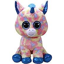 Grandes y preciosos ojos brillantes. TY - Beanie Boos Blitz, peluche unicornio, color azul, 40 cm (United