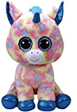 Ty 36890 Blitz Unicorn with Glitter Eyes, Plush Beanie Boo Plush Soft Toy – Blue/Multicoloured 42 cm