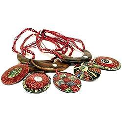AW Collares De Madera Y Concha, Cuerda, Rojo, 30 X 9 X 30 Cm, 5
