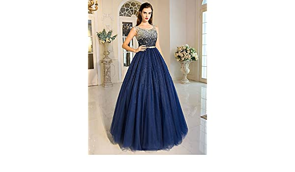 HY&OB Ball Gown Princess Jewel Neck Floor Length Tulle Formal Evening Dress With Beading Crystal Detailing Sequins Champagne,Us 2/Uk 6/Eu 32: Amazon.co.uk: ...