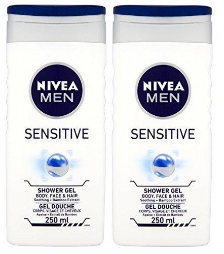 Preisvergleich Produktbild Nivea Herren- Sensitiv Dusch- Gel für Körper Gesicht & Haar (Packung von 2) 250ml jedes